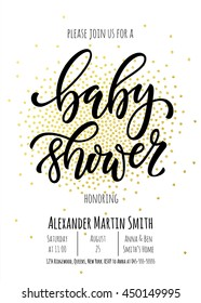 Baby Shower invitation card template. Classic black calligraphy vector lettering. White background with golden polka dot decoration.