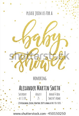 Baby shower invitation card template classic stock vector royalty baby shower invitation card template classic golden calligraphy vector lettering white background with gold filmwisefo