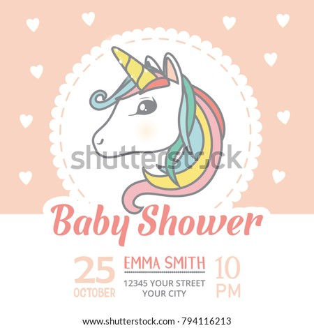 Baby Shower Invitation Card Template Cute Stock Vector Royalty Free