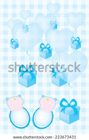 Baby Shower Invitation Card Twin Babies Stock Vector Royalty Free
