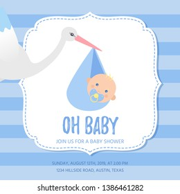 Baby Shower invitation card. Vector. Baby boy banner. Welcome template invite. Cute birth party background. Happy greeting holiday poster with newborn kid. Blue design. Cartoon flat illustration.