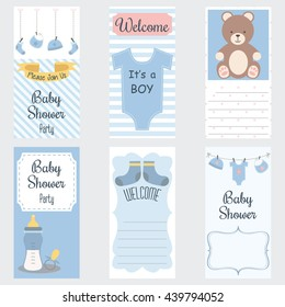 Baby Shower Invitation Card.It's a Boy.Baby Shower Greeting Card.Baby Boy Shower set.