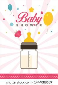 Baby Shower Invitation, Concept, Template, Banner, Logo Design, Icon, Poster, Label, Web Header, Background, Mnemonic with milk bottle - Vector, Illustration