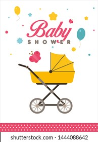 Baby Shower Invitation, Concept, Template, Banner, Logo Design, Icon, Poster, Label, Web Header, Background, Mnemonic with crib - Vector, Illustration