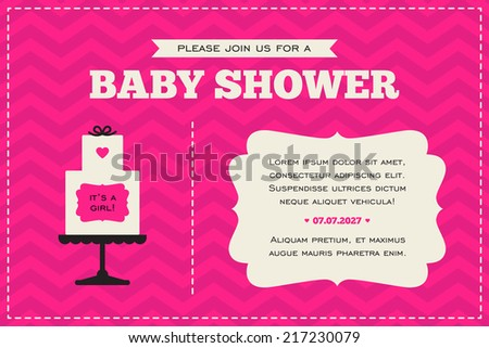 Baby shower invitation cream hot pink stock vector royalty free baby shower invitation cream hot pink and black colors illustration of baby cake filmwisefo
