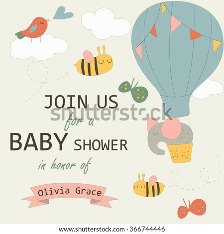 Baby Shower Invitation Cute Elephant On Stock Vector Royalty Free