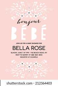 """Baby Shower Invitation featuring the words""""Boujour B�©b�©"""" template"""
