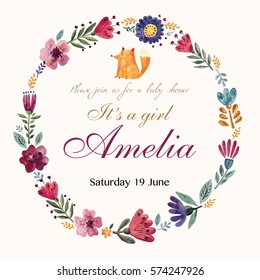 Baby Shower invitation with flower wreath