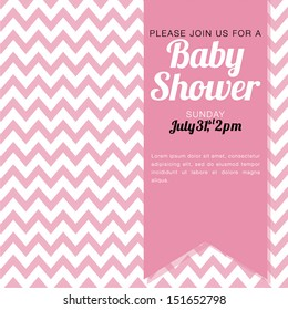 Baby Shower Invitation for a baby girl - pink and white chevron background - vector illustration EPS10