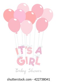 Baby shower invitation for girls. It's a girl vector illustration.
