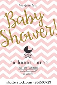Baby shower invitation with golden detail
