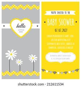 Baby Shower Invitation Yellow White Gray Stock Vector Royalty Free
