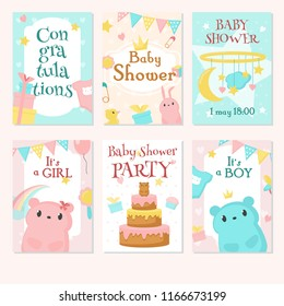 Baby shower invitation greeting card template set. Vector hand drawn illustration of cute animals bunnies, bears, baby toys, party decorations, gift boxes, cake and other sweets.