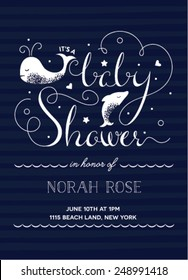 Baby Shower Invitation with Hand-Drawn Texts featuring a nautical theme