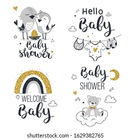 Baby Shower Invitation, Mom to Be Cards. Vector illustration.