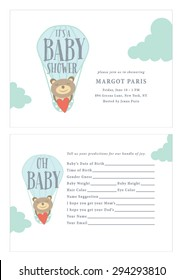 Baby Shower Invitation with Baby Prediction Card