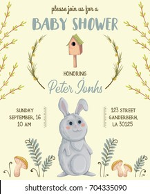 Baby shower invitation with rabbit, mushrooms, flowers, leaves, tree branches and birdhouse. Cute cartoon character. Hand drawn vector illustration in watercolor style