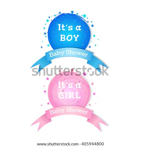 baby shower invitation stickers boy girl stock vector royalty free