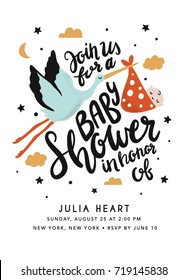 Baby Shower Invitation with Stork