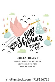 Baby Shower Invitation with stork and hand drawn letters design. Baby Shower card party template