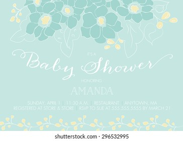 Baby Shower Invitation Template with Blue and Yellow Abstract Floral Design - Vector