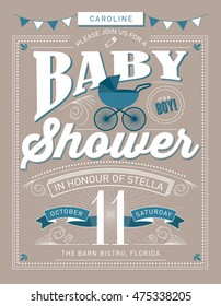 baby shower invitation template/ baby boyl vector/illustration