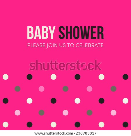 Baby Shower Invitation Template Bright Pink Stock Vector Royalty