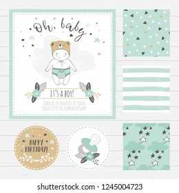 Baby shower invitation template card. Cute drawn boy, tags and patterns collection