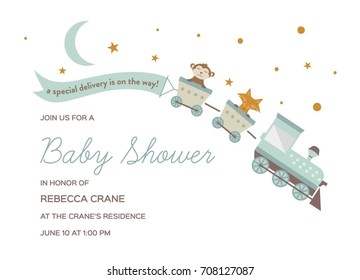 Baby Shower Invitation Template. Baby Shower Card with Train and Animal.