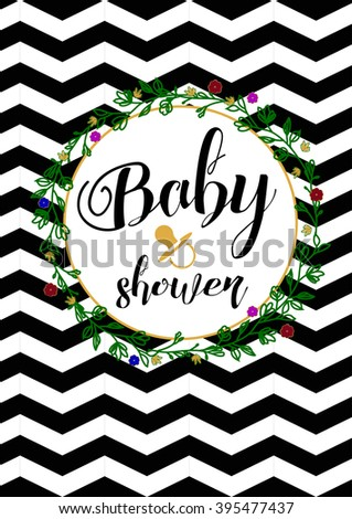 baby shower invitation template card hand stock vector royalty free Pink and Gray Chevron Background baby shower invitation template card with hand draw flowers frame chevron black and white background