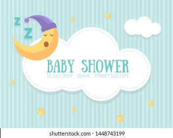 Baby Shower Invitation Template, Cute Card with Sleeping Moon, Cloud and Place For Text Vector Illustration