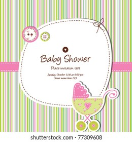 baby shower invitation template  Cute vector card - baby arrival  Unique Greeting card with stylish colorful stripe background Simple unique design for scrapbook projects, craft, baby shower card