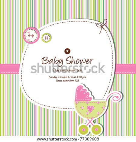 Baby shower invitation template cute vector stock vector royalty baby shower invitation template cute vector card baby arrival unique greeting card with stylish colorful filmwisefo