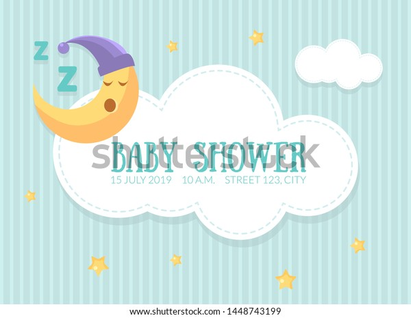 Baby Shower Invitation Template Cute Card Stock Vector