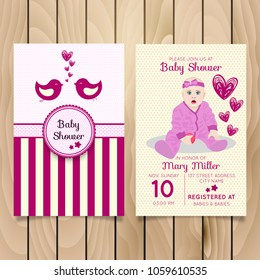 Baby Shower Invitation Template Rabbit Hearts Stock Vector Royalty