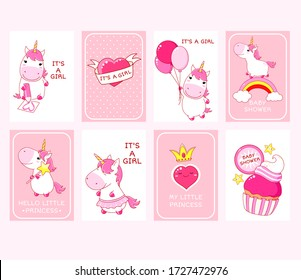 Baby shower invitation template. Baby girl arrival cards collection. Set of vector invitations, birthday greeting cards with cute unicorn, rainbow, heart, cupcake in kawaii style. Vector EPS8
