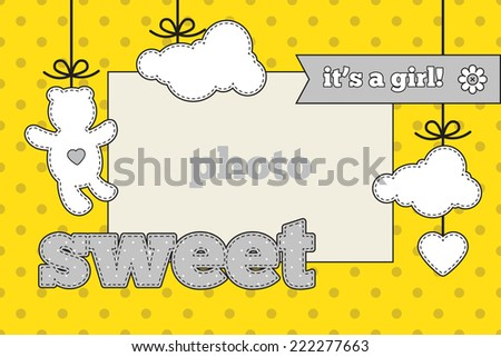 Baby Shower Invitation Template Gray Yellow Stock Vector Royalty