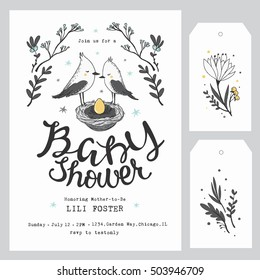 Baby Shower Invitation Template with hand lettering, cute birds and flowers. Baby Shower Decoration. Gender Neutral.