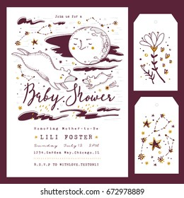 Baby Shower Invitation Template with hand lettering, Moon and Constellations. Ursa Major and Ursa Minor. Gender Neutral.