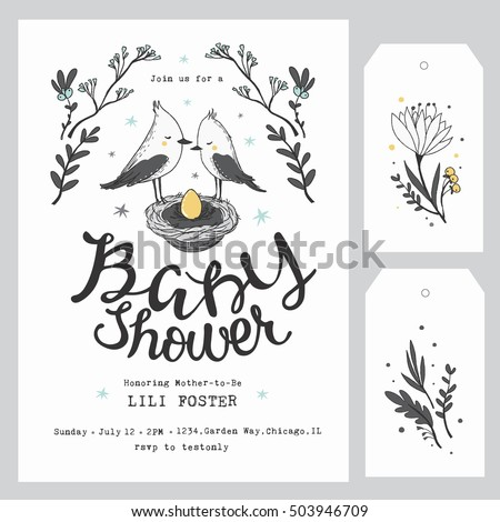 Baby Shower Invitation Template Hand Lettering Stock Vector Royalty