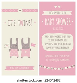 Twins Baby Shower Invitation Stock Vectors Images Vector Art