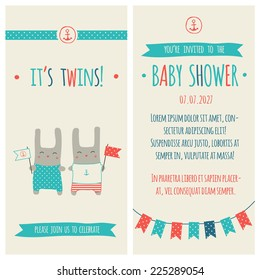 Baby shower invitation, template. Illustration of twins bunnies with flags, marine decorations.