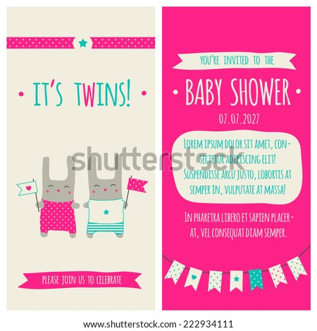 Baby Shower Invitation Template Illustration Twins Stock Vector