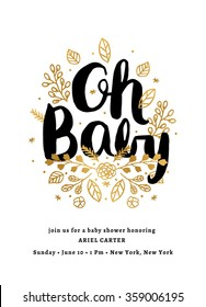 Baby Shower Invitation Template. Baby Shower Invitation Layout. Floral Baby Shower Card