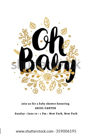 Baby Shower Invitation Template Layout Floral Card