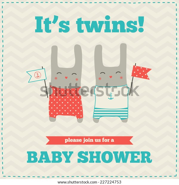 Baby Shower Invitation Template Nautical Design Stock Vector