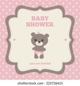 Baby Shower Invitation Template Pink Brown Stock Vector Royalty
