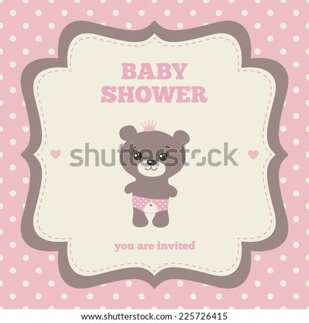 Baby shower invitation template pink brown stock vector royalty baby shower invitation template pink brown and cream colors illustration of little filmwisefo