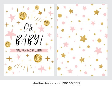 Baby Shower Invitation Template with sparkle gold balls, pink stars, background. Oh baby banner for children birthday party, congratulation, invitation. Vector illustration logo, sign label set