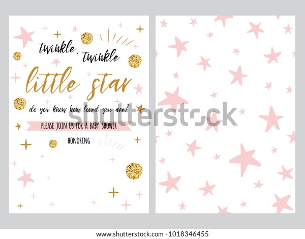 Baby Shower Invitation Template Sparkle Gold Stock Vector Royalty